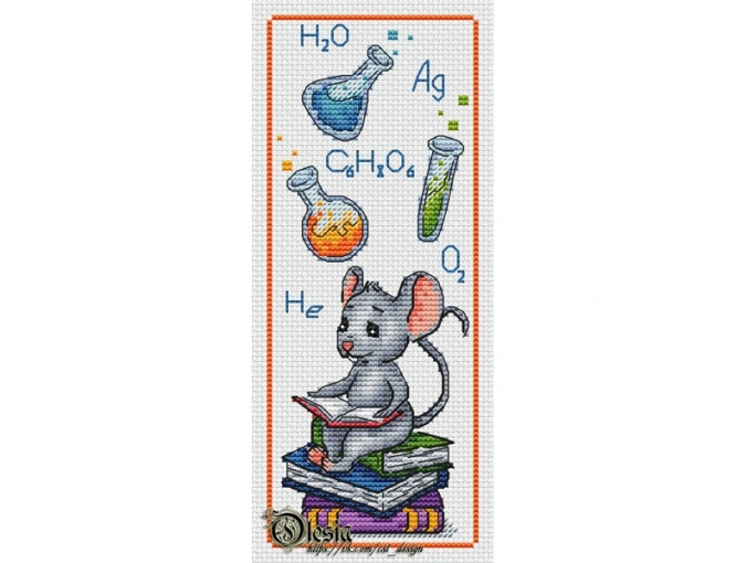 Bookmark with Mouse Cross Stitch Pattern фото 1
