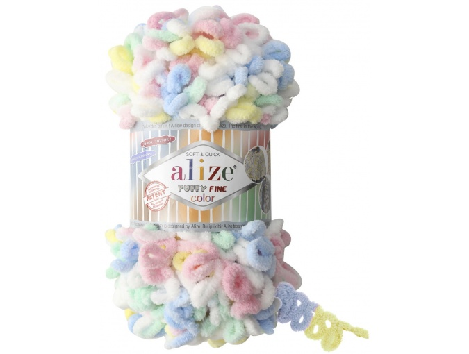 Alize Puffy Fine Color, 100% Micropolyester 5 Skein Value Pack, 500g фото 7