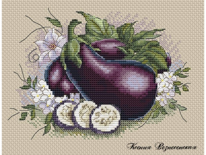 Eggplant Cross Stitch Pattern фото 1