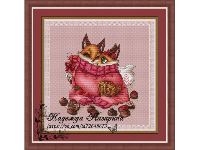 Foxes in Love Cross Stitch Chart фото 1