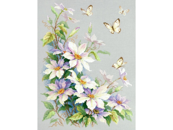 Clematis and Butterflies Cross Stitch Kit фото 2
