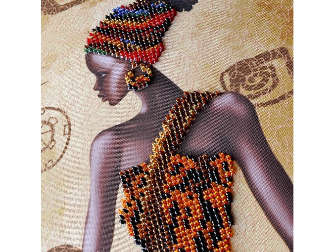 Mysterious African Woman Bead Embroidery Kit фото 3