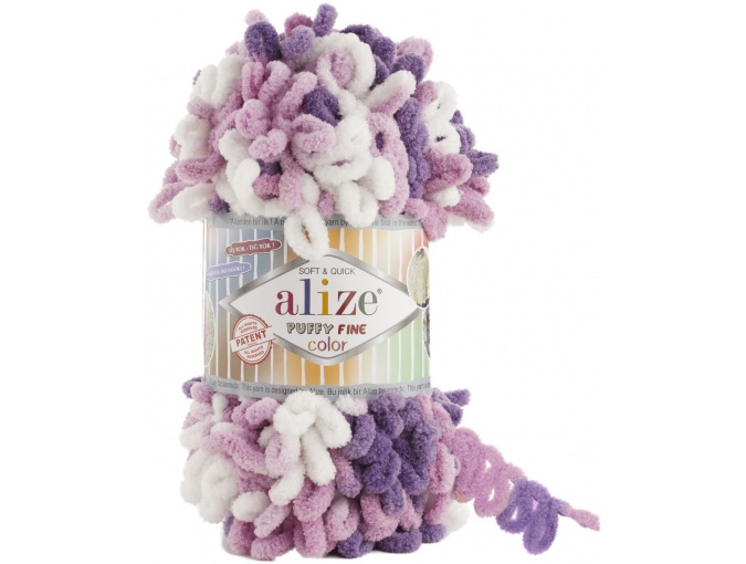 Alize Puffy Fine Color, 100% Micropolyester 5 Skein Value Pack, 500g фото 16