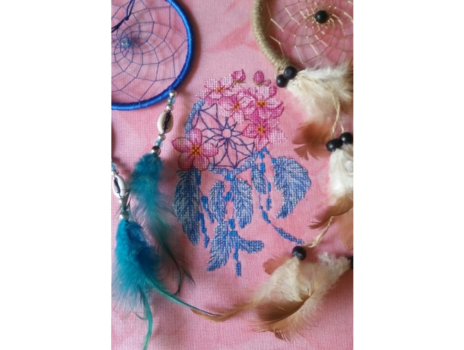 Dreamcatcher with Flowers Cross Stitch Pattern фото 3