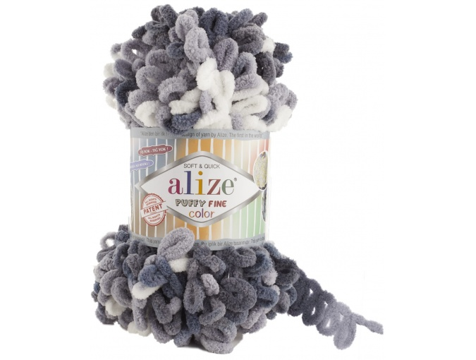 Alize Puffy Fine Color, 100% Micropolyester 5 Skein Value Pack, 500g фото 2