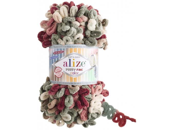 Alize Puffy Fine Color, 100% Micropolyester 5 Skein Value Pack, 500g фото 10