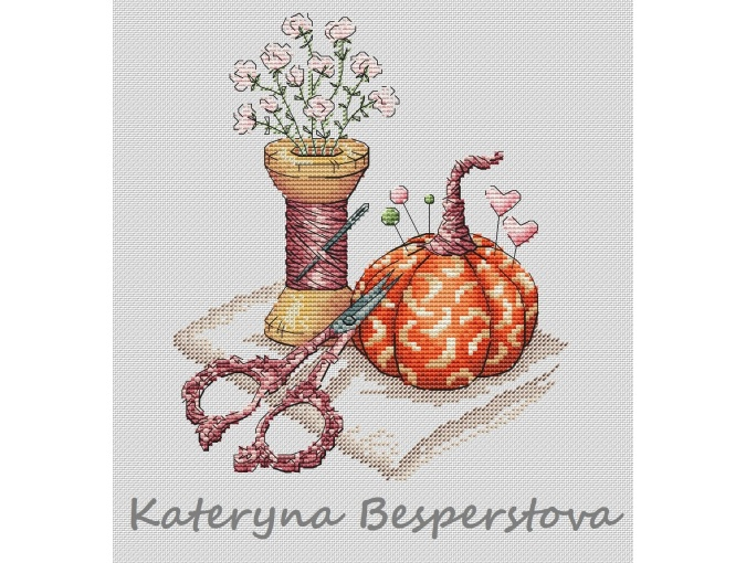 Pumpkin Pincushion. Antique Scissors Cross Stitch Pattern фото 1