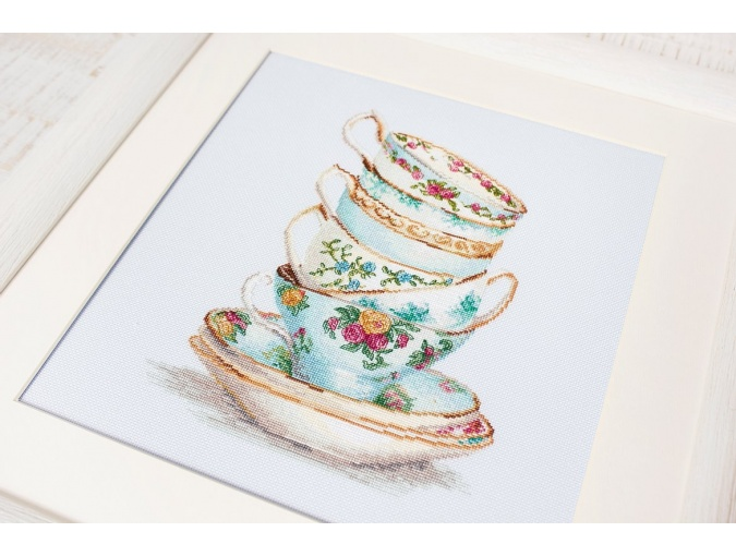 Turquoise Themed Tea Cups Cross Stitch Kit фото 2