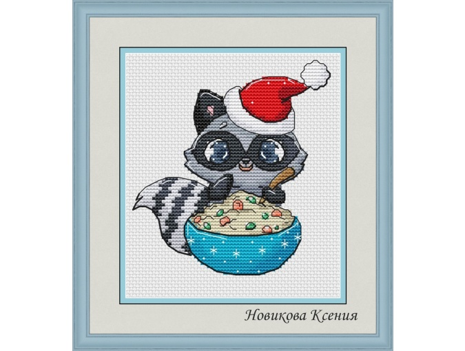 Christmas Raccoon Cross Stitch Pattern фото 1