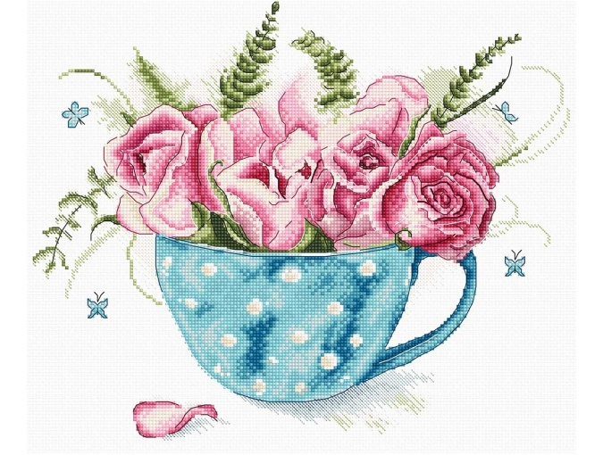 Cup of Roses Cross Stitch Kit фото 1
