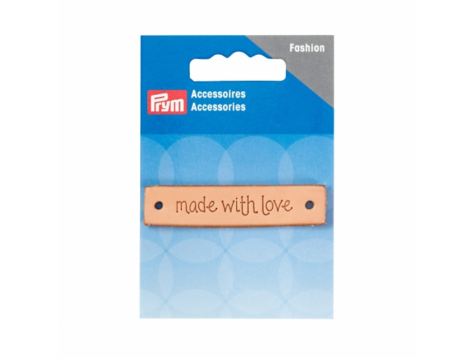 "Label ""made with love"", leather natural, rectangular фото 1"