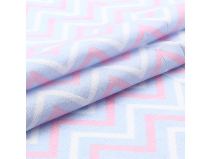 Colored Zig Zags Patchwork Fabric, Pink/Blue/White фото 1