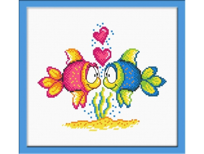 Fishes in Love Cross Stitch Kit фото 1
