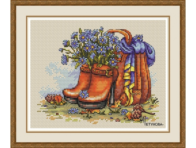 On a Carpet of Yellow Leaves Cross Stitch Pattern фото 1