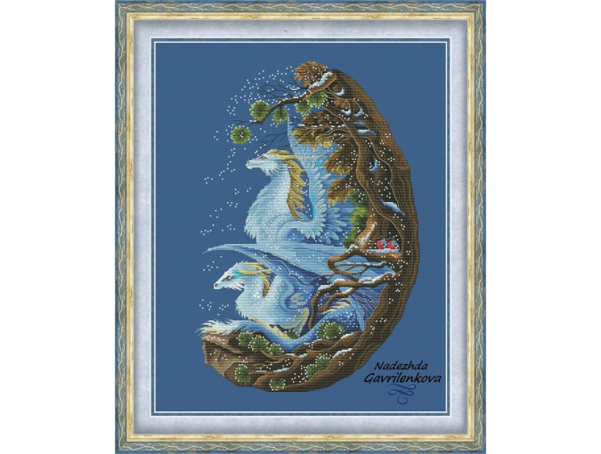 Snow Dragons Cross Stitch Pattern фото 1