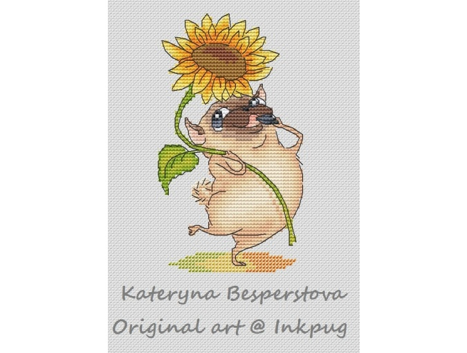 Pug with a Sunflower Cross Stitch Pattern фото 1