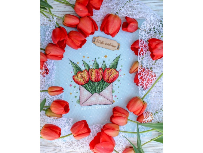 Envelope with Tulips Cross Stitch Pattern фото 3