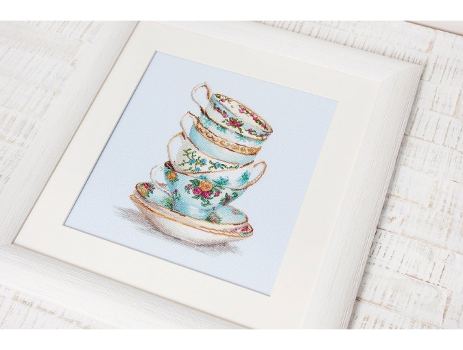 Turquoise Themed Tea Cups Cross Stitch Kit фото 3