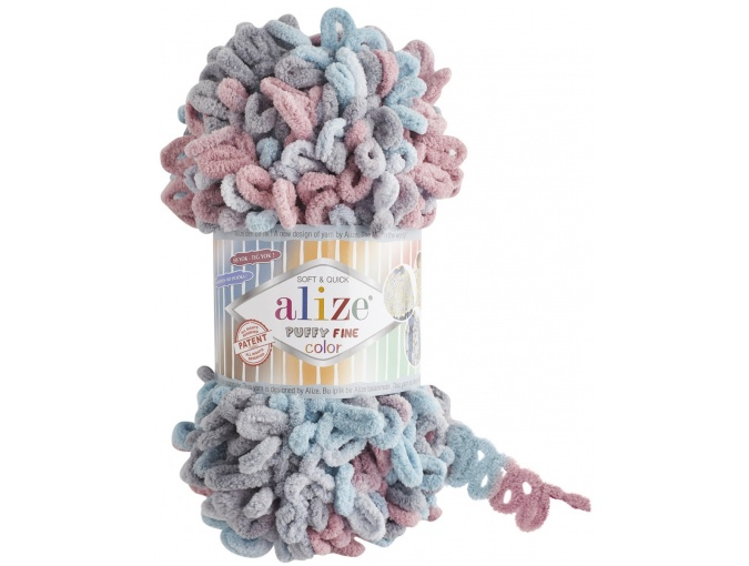 Alize Puffy Fine Color, 100% Micropolyester 5 Skein Value Pack, 500g фото 12