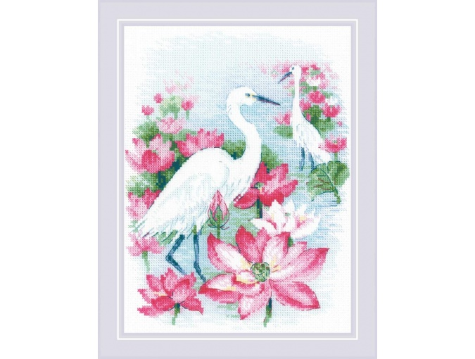 Lotus Field. Herons Cross Stitch Kit фото 1