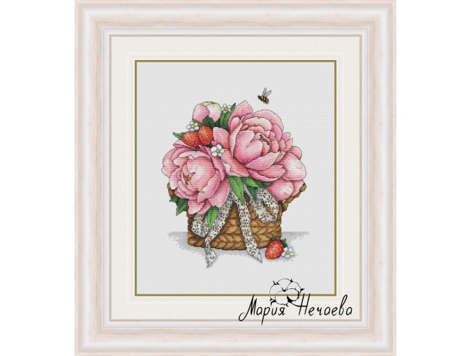 Basket with Peonies Cross Stitch Pattern фото 1