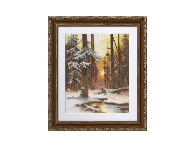 Winter Sunset in a Spruce Forest Cross Stitch Kit фото 2