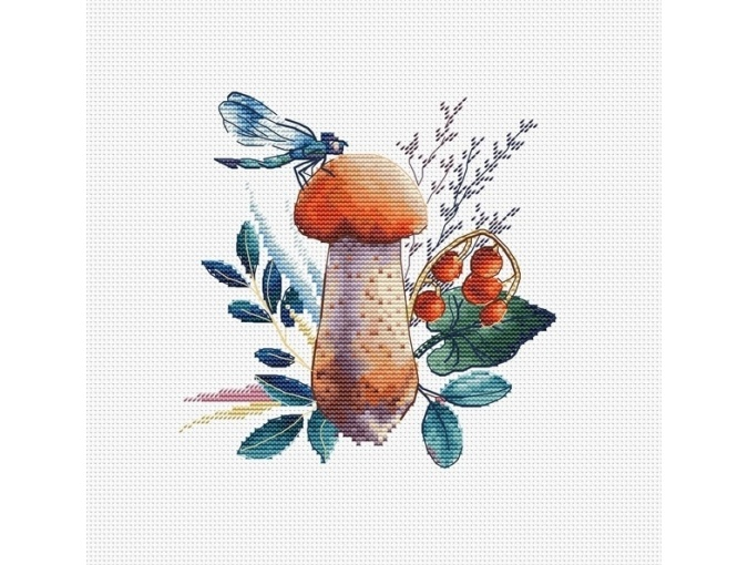 Orange-Cap Boletus Cross Stitch Pattern фото 1