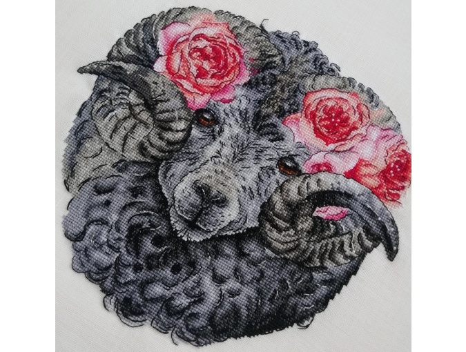 Ram with Roses Cross Stitch Pattern фото 5