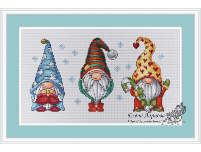 Winter Gnomes Cross Stitch Pattern фото 1