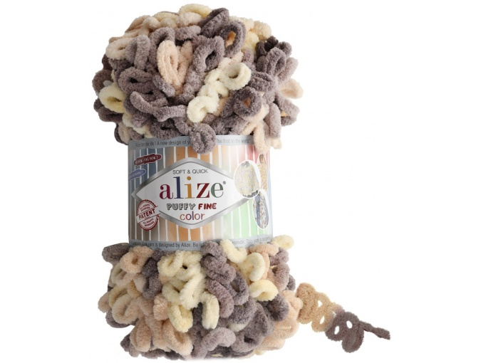 Alize Puffy Fine Color, 100% Micropolyester 5 Skein Value Pack, 500g фото 9