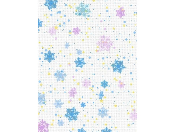 18 Count Aida Designer Fabric by MP Studia Snowflakes on White фото 1