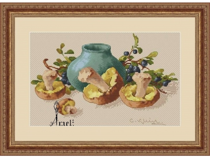 Blueberries and Mushrooms Cross Stitch Pattern фото 1