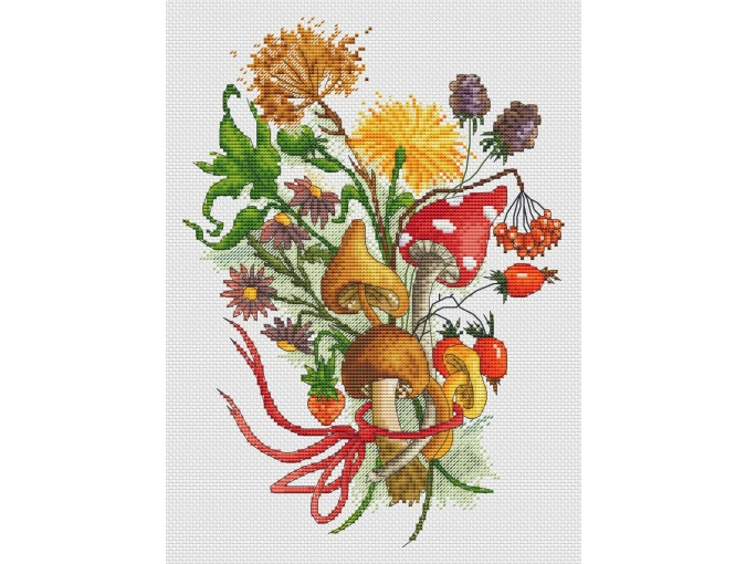 Autumn Mushroom Bouquet Cross Stitch Pattern фото 1