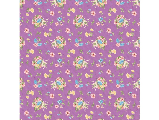 Fat Quarter Peppy, print Violet with Flowers фото 1