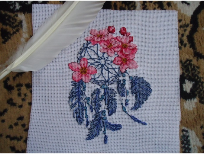 Dreamcatcher with Flowers Cross Stitch Pattern фото 4
