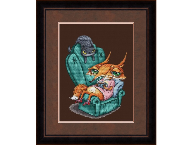 Fox and Cocoa Cross Stitch Pattern фото 1