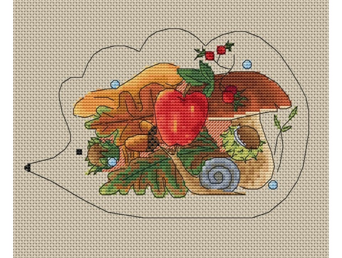 Autumn Hedgehog Cross Stitch Pattern фото 1