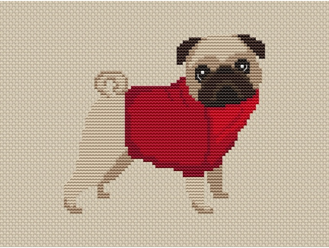 Pug Dog in Red Cross Stitch Pattern фото 1