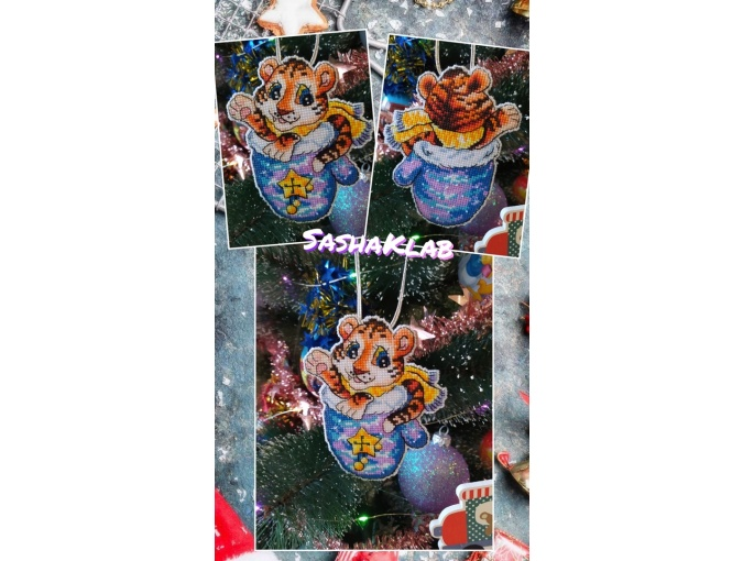 Mitten with a Tiger Cross Stitch Pattern фото 2