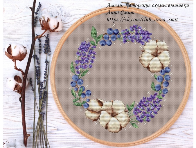 Flowers and Berries Wreath Cross Stitch Pattern фото 4