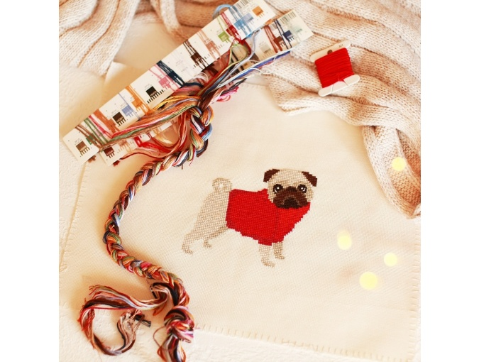 Pug Dog in Red Cross Stitch Pattern фото 4