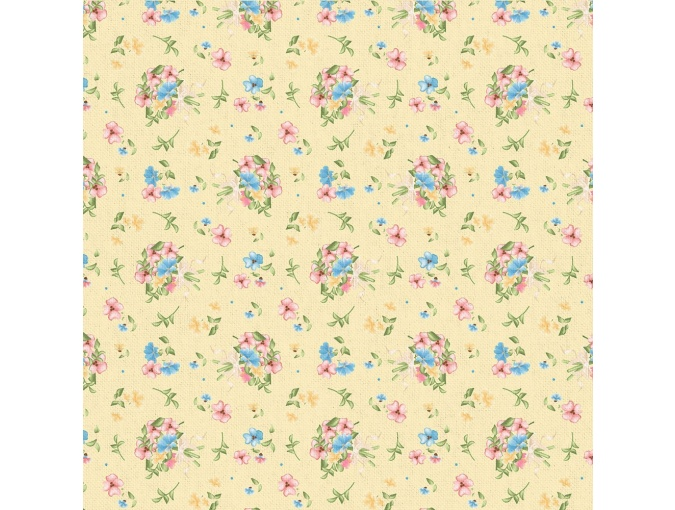 Fat Quarter Peppy, print Yellow with Flowers фото 1