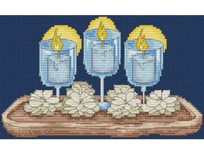 Candles in Glasses Cross Stitch Pattern фото 1