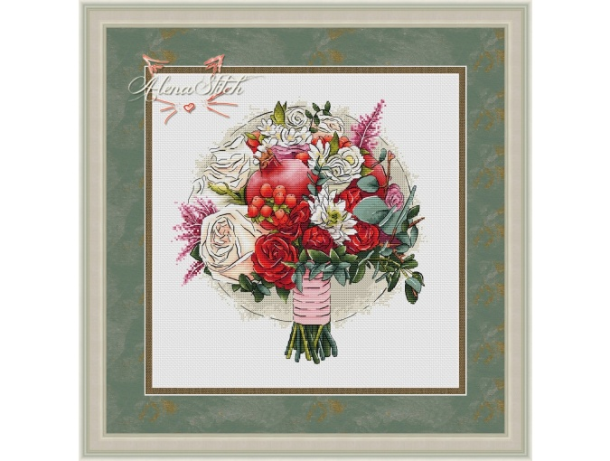 Pomegranate Blossom Cross Stitch Pattern фото 1
