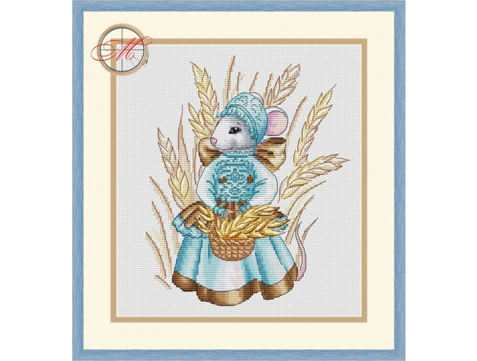 Mouse with a Basket Cross Stitch Pattern фото 1