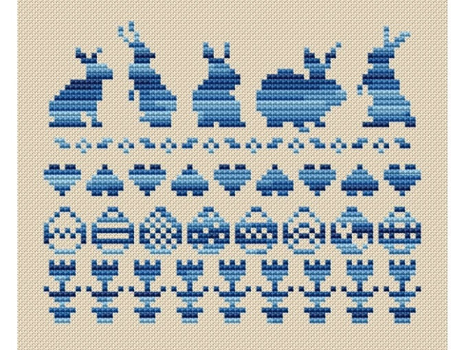 Easter Bunnies and Eggs Cross Stitch Pattern фото 1