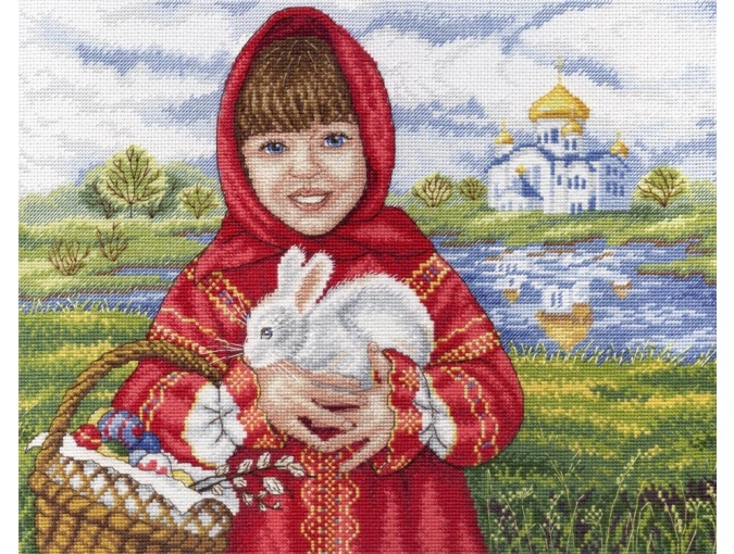 Girl with Easer Bunny Cross Stitch Kit фото 1