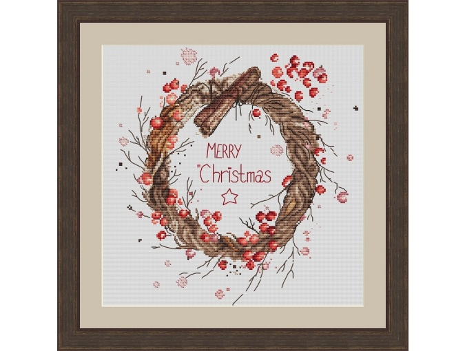 Merry Christmas Wreath Cross Stitch Pattern фото 1