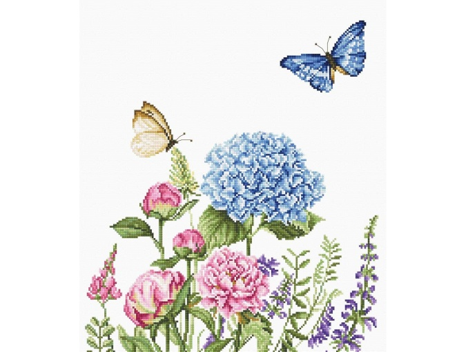 Summer Flowers and Butterflies Cross Stitch Kit фото 1