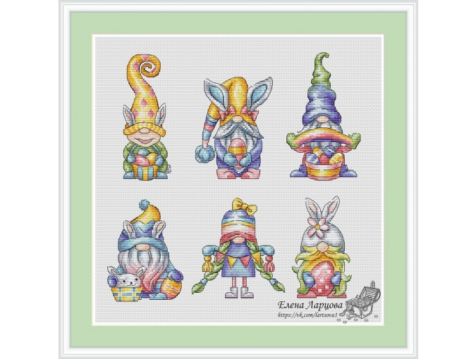 Rainbow Gnomes Cross Stitch Pattern фото 1